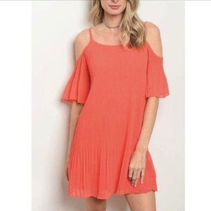 NWT DO+BE Cold Shoulder Pleated Ruffle Dress Sz S